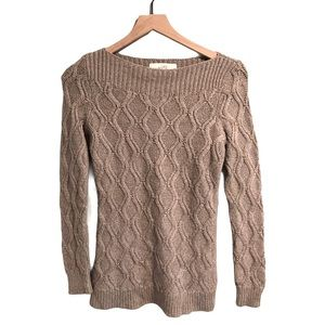 EUC LOFT Cable Knit Wool Rabbit Hair Taupe Sweater